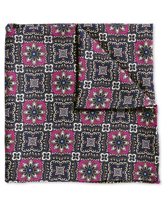 Pink and navy floral luxury English pocket square