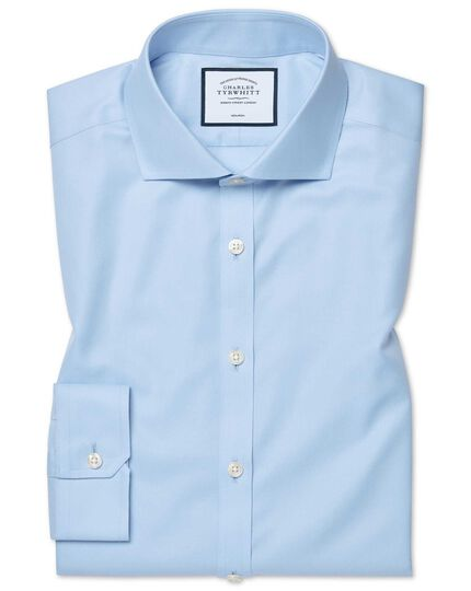 Super slim fit sky blue non-iron twill shirt