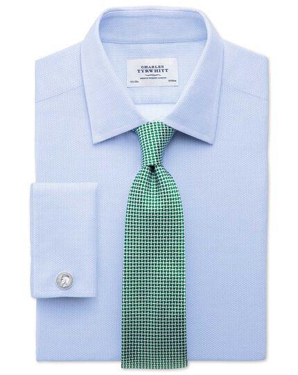 Extra Slim Fit Hemd aus ägyptischer Baumwolle in Himmelblau mit Diamant-Struktur