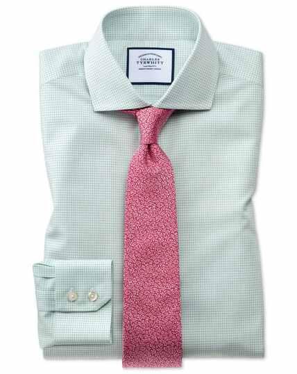 Slim fit spread collar non-iron natural cool micro check green shirt
