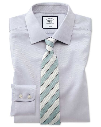 Classic fit non-iron grey triangle weave shirt