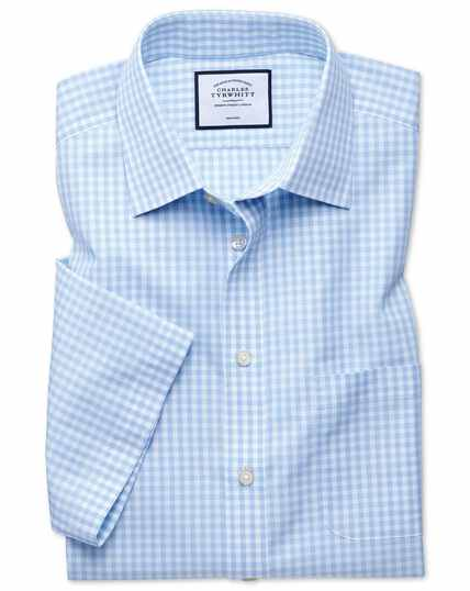 Non-Iron Tyrwhitt Cool Poplin Short Sleeve Check Shirt - Sky Blue Check