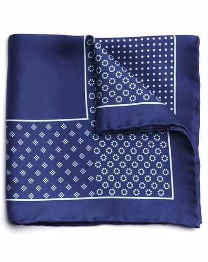 Pochette de costume bleu marine en soie à imprimé géométrique
