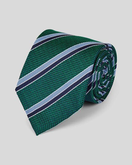 Silk Textured Club Stripe Classic Tie - Green & Blue
