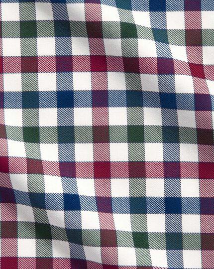 Chemise bleu marine et myrtille à carreaux coupe droite