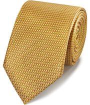 Cravate classique jaune en soie