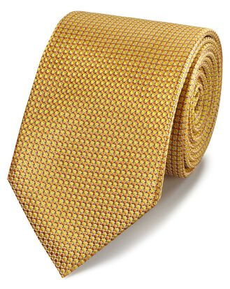 Yellow tonal silk classic tie