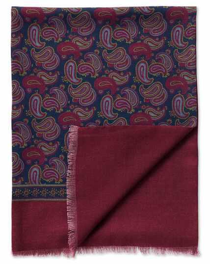 Navy printed large paisley wool scarf