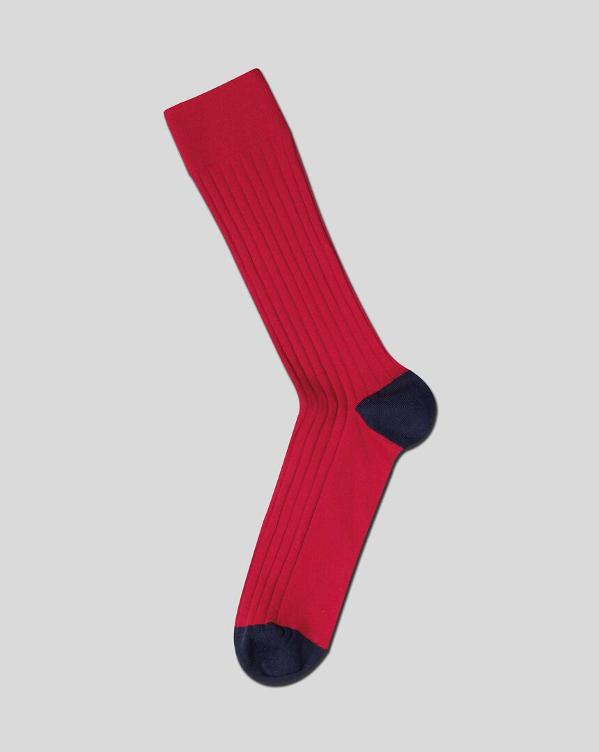 Cotton Rib Socks - Red