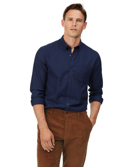 Extra slim fit soft washed non-iron twill dark blue shirt