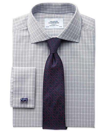 Extra Slim Fit Hemd in Silber mit Prince-of-Wales-Karos