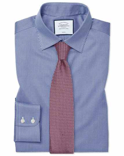 Slim fit non-iron royal blue puppytooth shirt