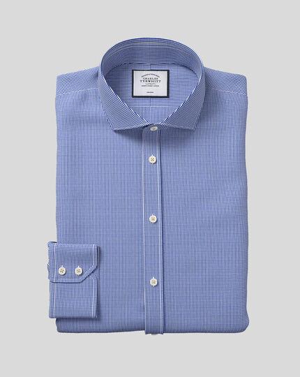 Chemise bleu roi pied-de-poule extra slim fit à col cutaway sans repassage