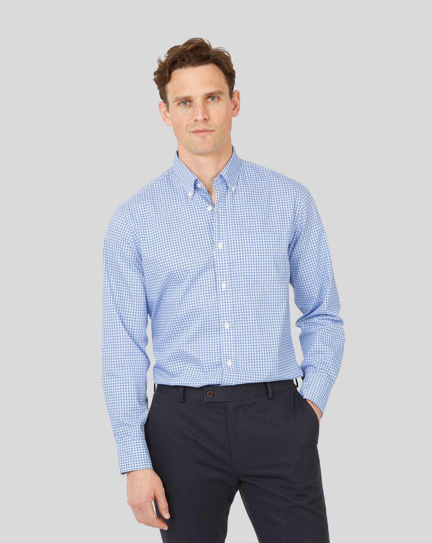 Vorgewaschenes bügelfreies Popeline-Hemd aus Stretchgewebe mit Button-down-Kragen und Karos - Himmelblau