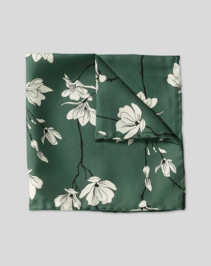 Large Floral Print Pocket Square - Green