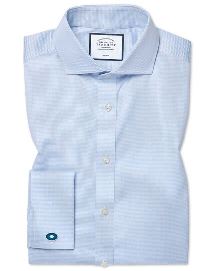 Slim fit non-iron cutaway sky blue puppytooth shirt