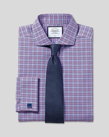 Cutaway Collar Non-Iron Prince of Wales Check Shirt - Purple & Blue