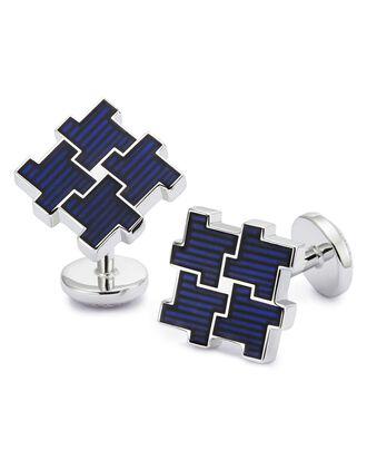 Boutons de manchette bleu marine fragments motif pied-de-poule en émail