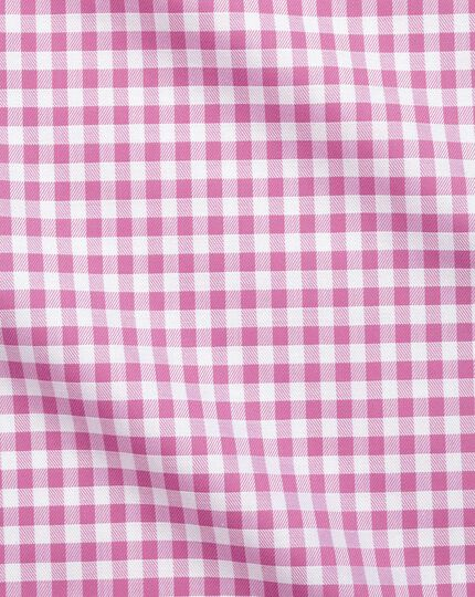 Extra slim fit non-iron gingham pink shirt