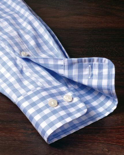 Classic fit non-iron sky blue gingham poplin shirt