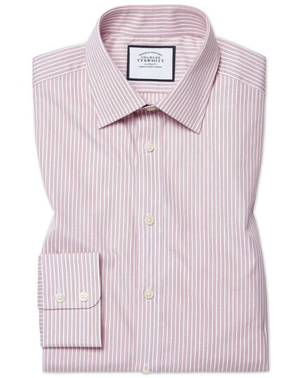 Slim fit poplin fine stripe pink shirt