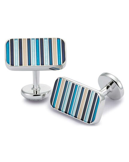 Blue multi stripe enamel cufflinks