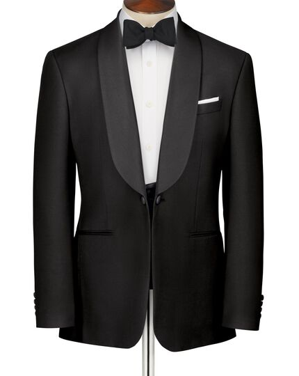 Black classic fit shawl collar tuxedo jacket