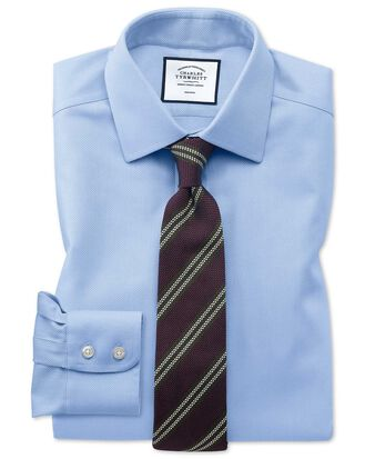 Classic fit non-iron sky blue arrow weave shirt
