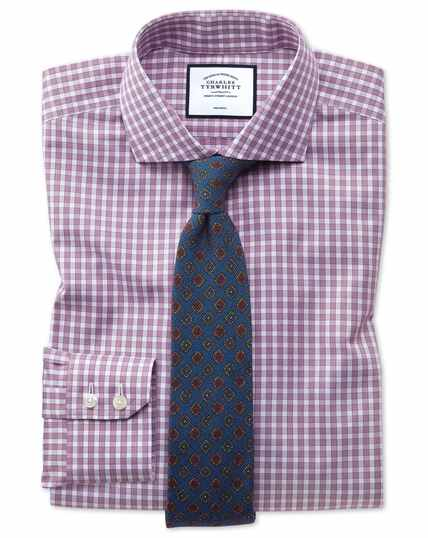 Slim fit non-iron twill berry gingham shirt