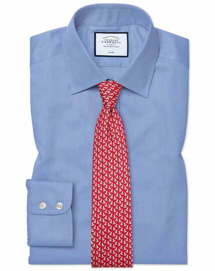 Chemise bleue en royal panama slim fit sans repassage