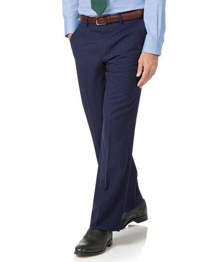 Pantalon de costume business bleu marine en Panama coupe droite à rayures