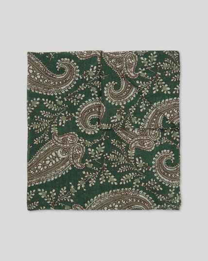 Floral Paisley Luxury Pocket Square - Green