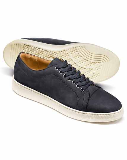 Blue nubuck leather toe cap sneakers