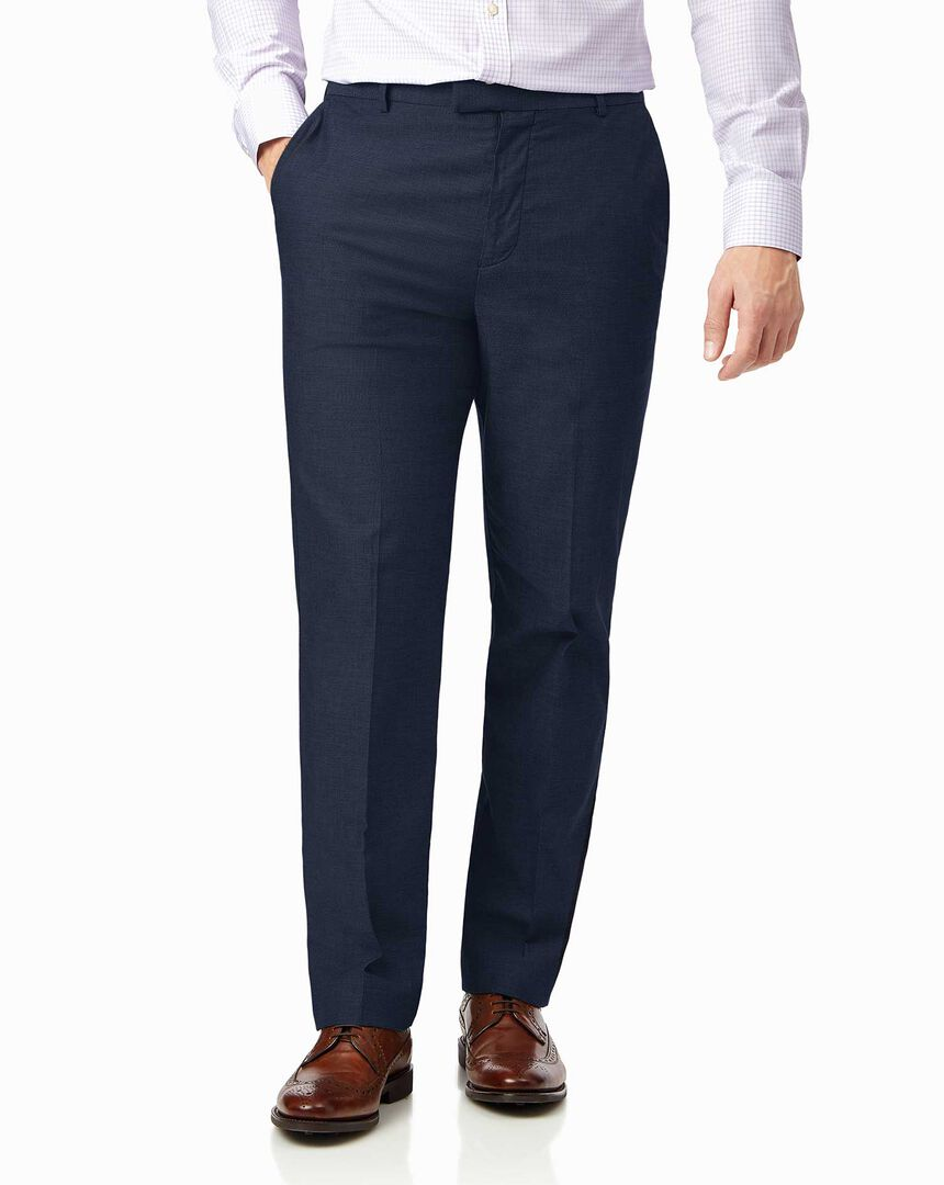 Navy non-iron stretch textured trousers