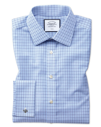 Extra slim fit non-iron poplin blue and sky blue shirt