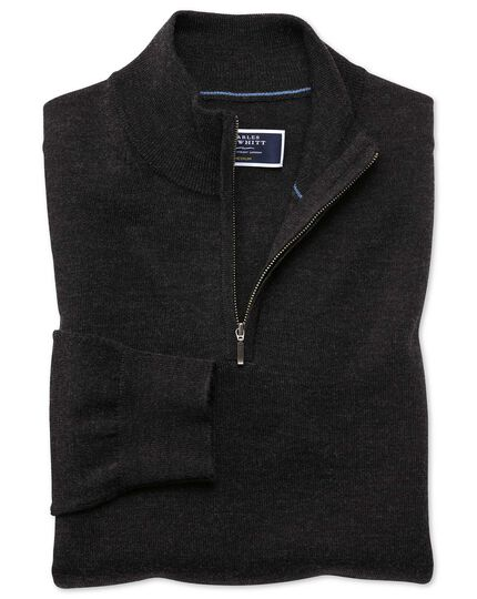 Dark charcoal merino zip neck sweater