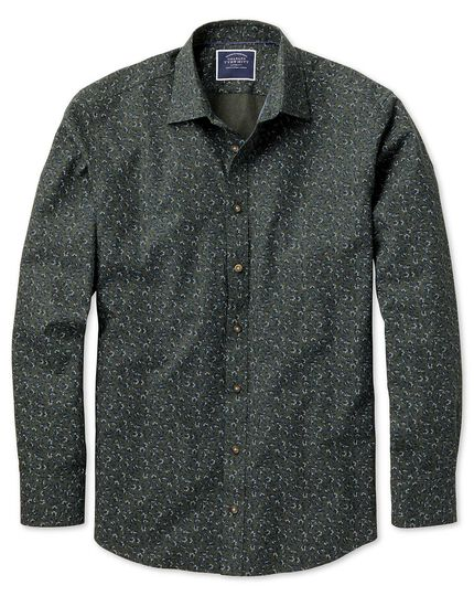 Slim fit green floral print shirt