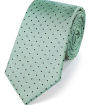 Light green silk textured spot classic tie