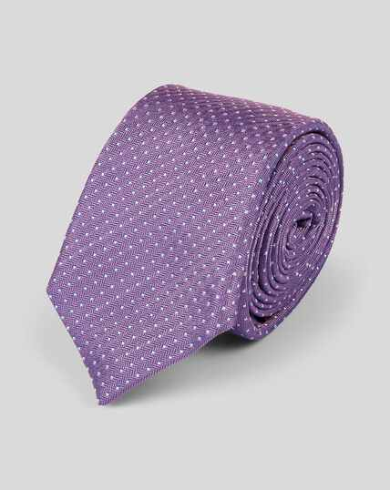 Slim Silk Spot Tie - Lilac & White