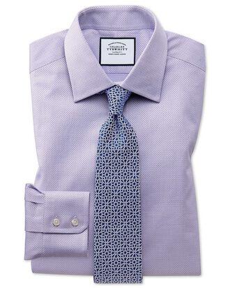 Chemise lilas en coton égyptien avec armure à carrés slim fit
