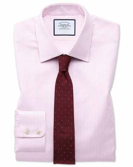 Extra slim fit Egyptian cotton royal Oxford pink and white stripe shirt