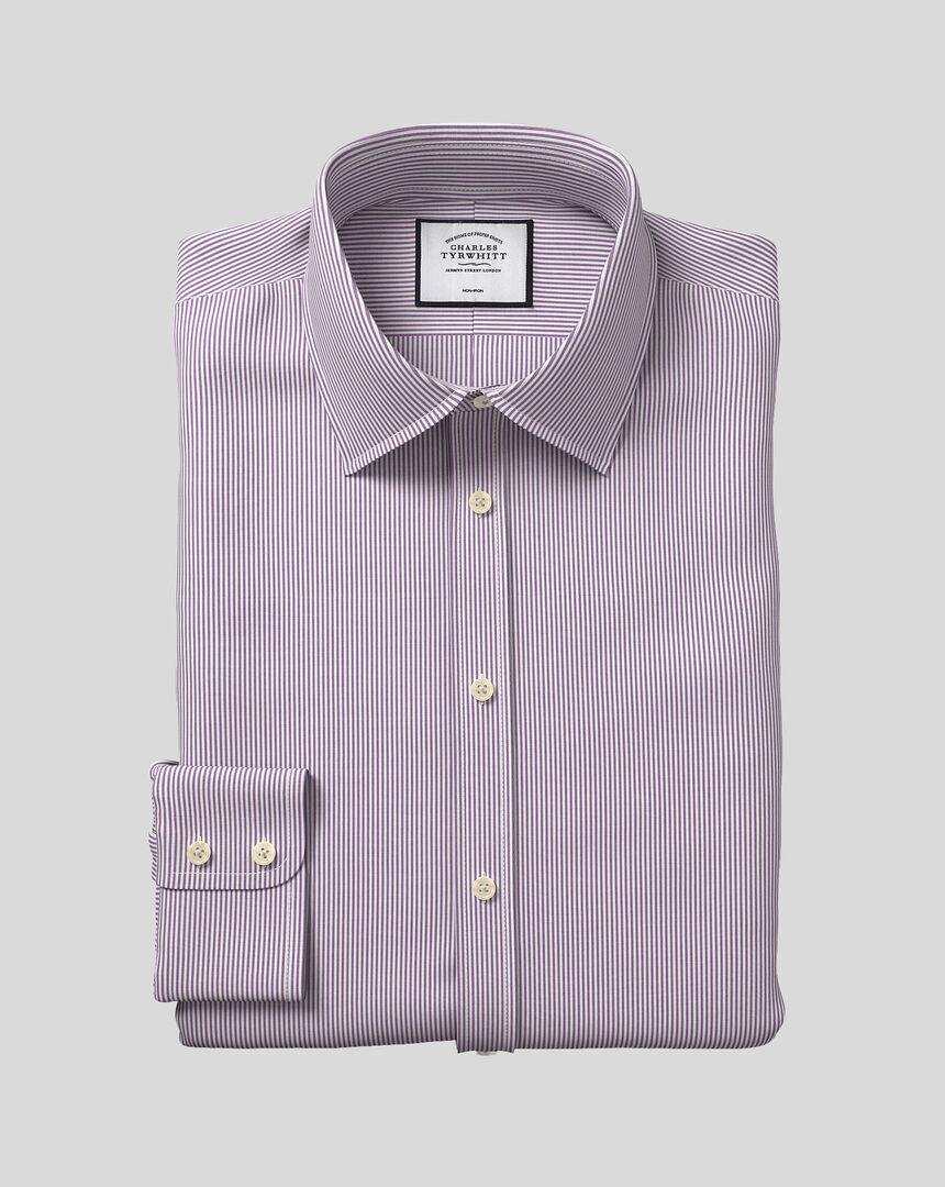 Bügelfreies Hemd mit Kent-Kragen und Bengal-Streifen - Violett