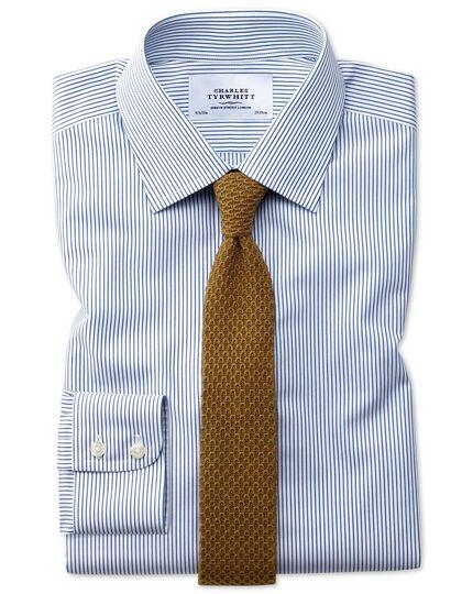 Bügelfreies Extra Slim Fit Hemd in Marineblau mit Streifen