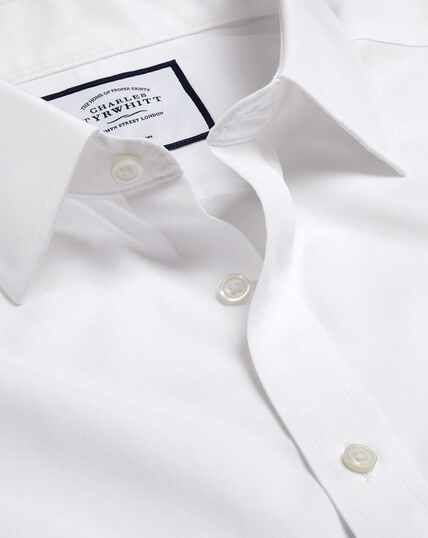 Non-Iron Tyrwhitt Cool Poplin Short Sleeve Shirt - White