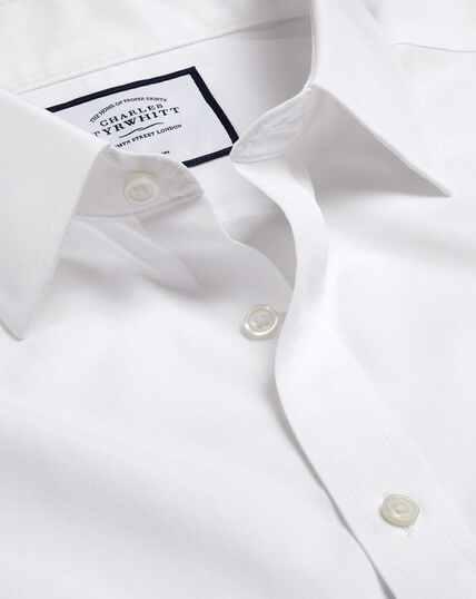 Bügelfreies Tyrwhitt Cool Popeline-Kurzarmhemd - Weiß