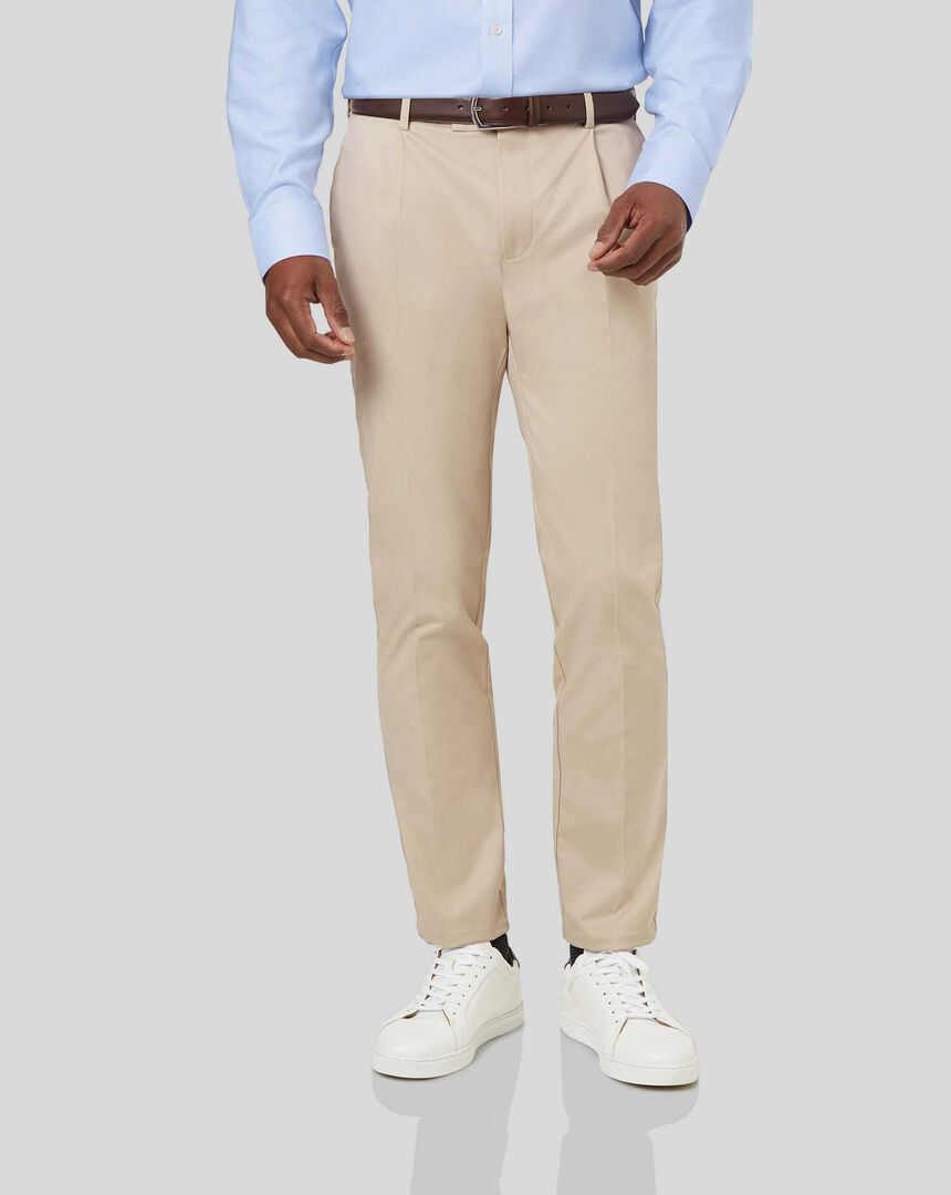 Smart Non-Iron Single Pleat Chinos - Stone