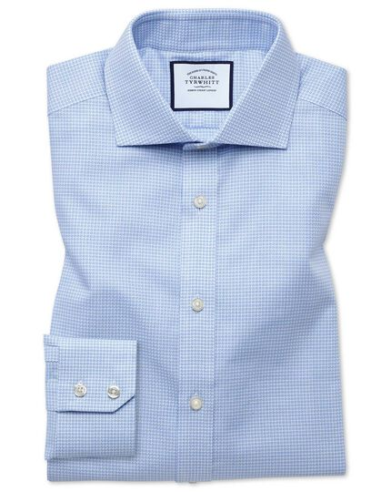 Extra slim fit cutaway textured puppytooth sky blue shirt