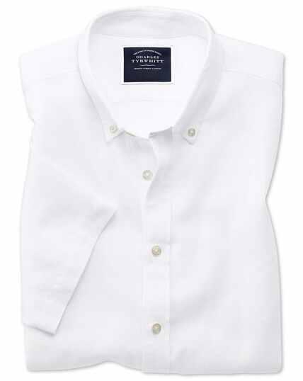 Slim fit white cotton linen twill short sleeve shirt