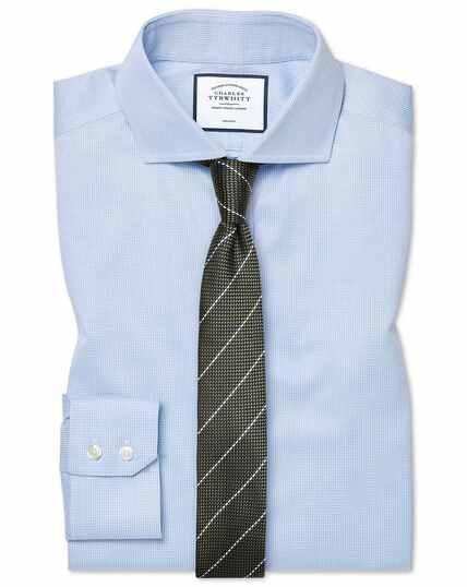 Extra slim fit non-iron cutaway sky blue puppytooth shirt