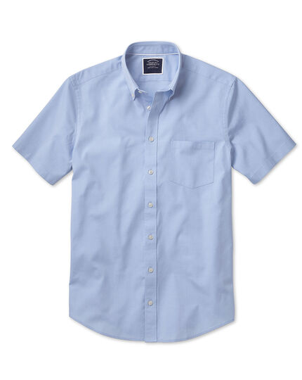 Classic fit sky blue washed Oxford short sleeve shirt
